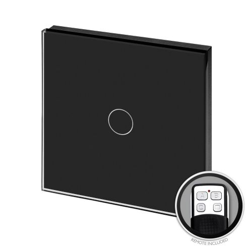 RetroTouch Touch & Remote On/Off Light Switch 1 Gang 1 Way Black Glass PG 00370